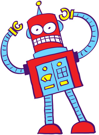 Mad robot in a very bad mood while showing completely out of control by opening its eyes, clenching its teeth and raising its arms
