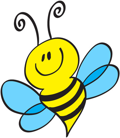 Cute little bee with antennae, stripped yellow body and blue wings while flying, posing and smiling