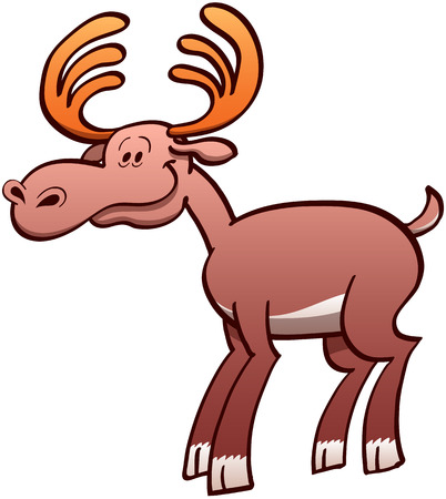 zooco: Nice brown moose with big antlers while posing and smiling in a joyful mood