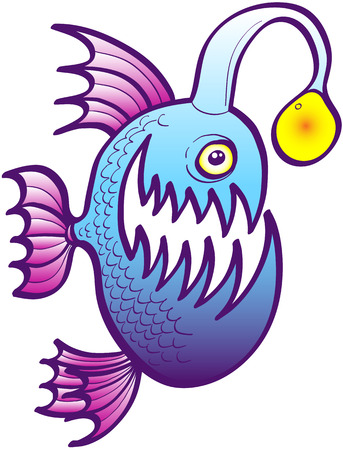 intimidating: Abyssal blue fish with sharp teeth, spiny purple fins and bulging eyes while swimming and showing its spine filament with a lightning esca Illustration