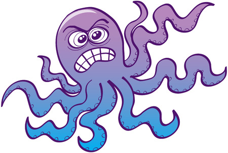 scaring: Furious octopus while showing how angry it is by clenching his teeth and agitating its eight tentacles