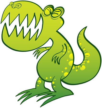 clenching: Funny green T-Rex with sharp tooth, yellow spots and short arms while clenching its eyes and complaining bitterly Illustration