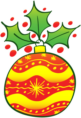 zooco: Beautiful red Christmas ball decorated with yellow waves and stars and showing an evergreen holly at top
