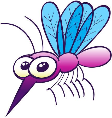 Mosquito p�rpura lindo con grandes ojos saltones, cuatro alas de color azul, un par de antenas, una fuerte trompa y diminutas piernas mientras flota, posando, mirando a usted y mirando inquietantemente inofensiva Vectores