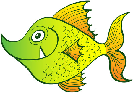 Side view of a weird yellow fish which is staring at you, smiling, showing its sharp fang and looking attentive to whatever can happen