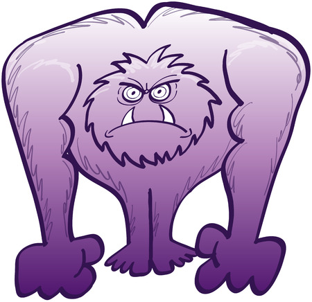clenching: Furious gigantic furry purple monster while staring at someone and clenching its fists to be ready to fight