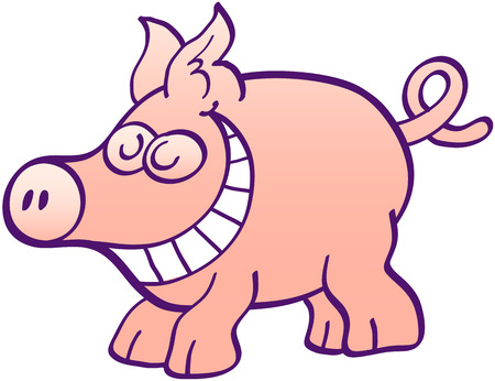 zooco: Cute little pig with big snout, big ears and curled tail while grinning mischievously like taking pleasure in something it did Illustration