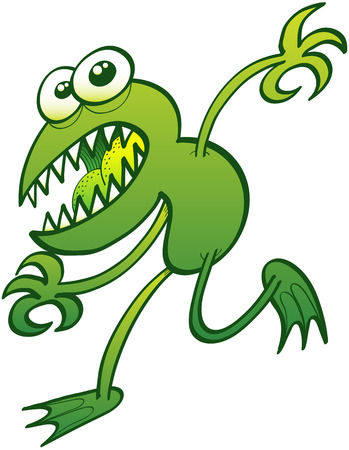 perturbing: Scared green frog with sharp teeth, bulging eyes and disturbing expression while trying to escape by moving stealthily