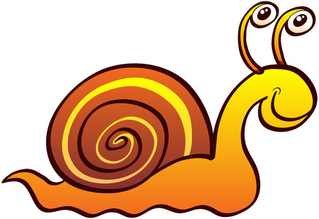 Nice land snail with funny eyes, brown spirally coiled shell and friendly expression while smiling and crawling slowly