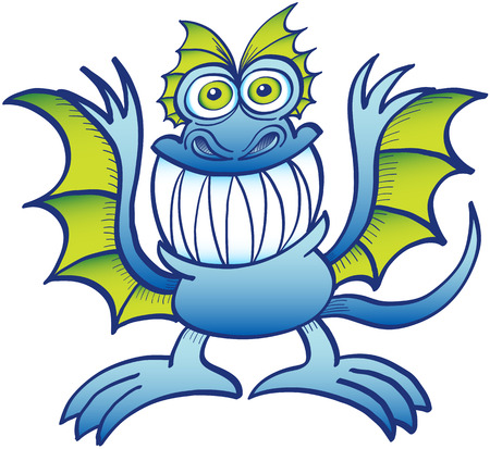 disturbing: Weird blue monster in a mad mood while grinning, staring at you, posing and raising its wings-like arms Illustration