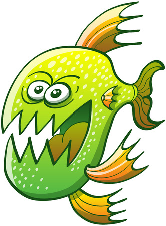 grumble: Weird green fish with pointy fins, sharp teeth and bulging eyes while swimming and showing an angry mood