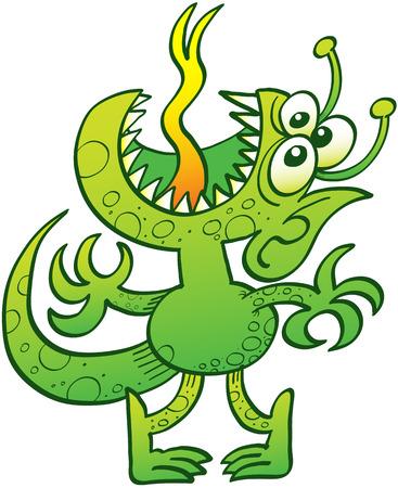 lengua larga: Alien�gena reptil verde con tres ojos, dientes agudos, orejas puntiagudas y antenas de pie de puntillas, levantando la cabeza, abriendo su boca y sacar la lengua para expresar la desesperaci�n