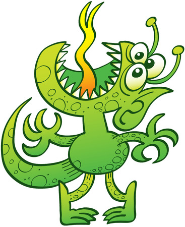Green reptile-like alien with three eyes, sharp teeth, pointy ears and antennae while standing on tiptoes, raising its head, opening its mouth and sticking its tongue out to express desperation Illustration