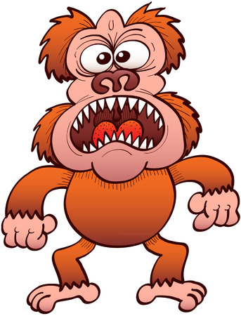 Weird ape-like monster with bulging eyes and sharp teeth while staring at you and widely open its mouth to protest and show how furious it is