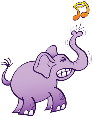 clenching: Purple elephant clenching its teeth and making a big effort to blow a musical note with its powerful trunk