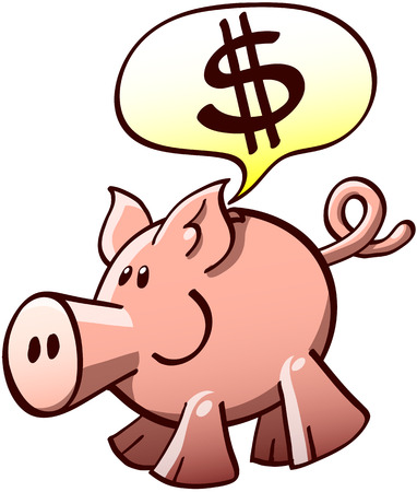 Cute piggy bank smiling and showing a bubble speech with a sign of dollars Vector