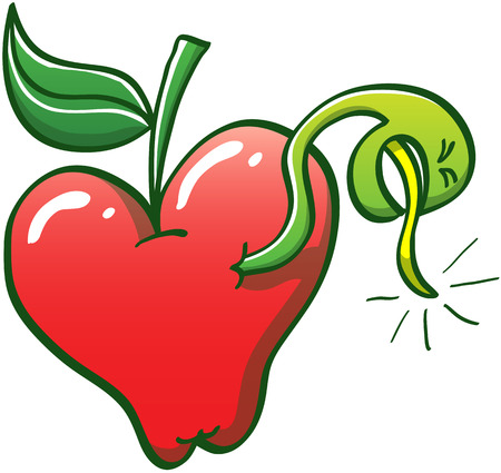 Slim green worm piercing the skin and going out from a juicy red apple to express annoyance by clenching its eyes and sticking its tongue out as if it wanted to throw up Illustration