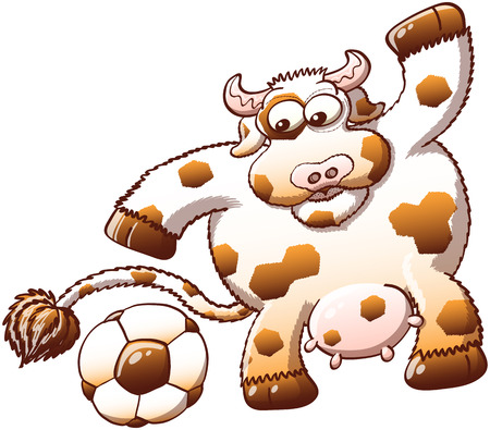 disturbing: Sweet, chubby and furry cow with hexagonal spots while staring at a soccer ball and expressing surprise when noticing the similarity between its own spots and the hexagons of the ball