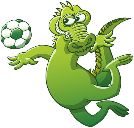 Cool green alligator keeping balance with its arms and tail in a mischievous attitude while floating in the air after having jumped, to be able to stare at a soccer ball and head it powerfully