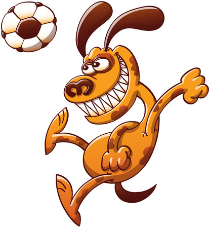 executing: Cool spotted brown dog clenching its fists and teeth in a powerful and dynamic attitude while executing a big jump to head a soccer ball while