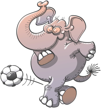 gracious: Nice chubby elephant bending its knees, raising its trunk and showing pride while kicking subtlety a soccer ball through a complicated maneuver consisting in passing its right leg behind its left one