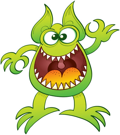 agitated: Enthusiastic funny monster widely open its mouth while making an OK sign with its left hand