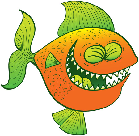 Funny orange fish with green fins and sharp teeth while clenching its eyes and laughing enthusiastically