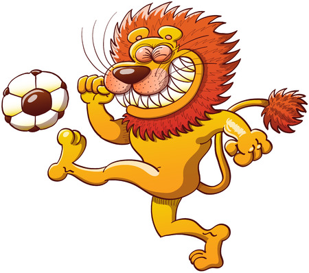 Cool lion with a big orange mane, long tail and sharp teeth while clenching its eyes, teeth and fists and making a big effort to kick a soccer ball