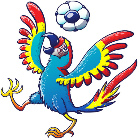 Güzel renkli macaw heyecanla onun kafasına bir futbol topu zıplatarak kanatlarını açarak ve bir bacak yükselterek Illustration