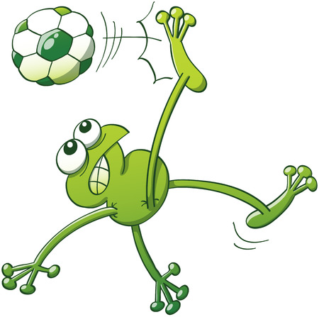 spirited: Green frog jumping, throwing the body up into the air and making a shearing movement with the legs to execute a bicycle kick with a soccer ball while clenching its teeth and looking fully determined Illustration