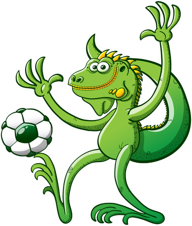talented: Cool green iguana performing a stunt consisting on holding a soccer ball with a toe of its right foot while raising its arms, keeping balance, posing and smiling with great satisfaction
