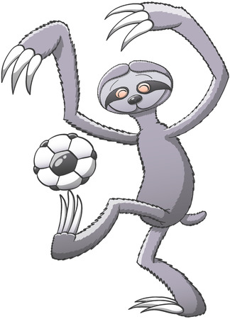 leggy: Funny three-toed gray sloth in a very enthusiastic mode playing with a soccer ball, balancing it on its claws and trying to keep balance with its long arms while smiling in a nice attitude