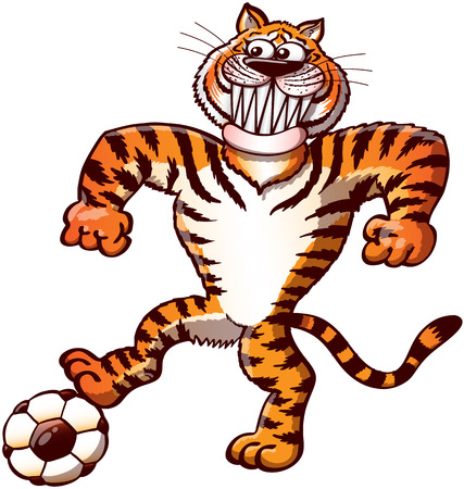 enthusiastic: Cool and proud orange tiger stepping on a soccer ball while pushing it, staring at the target, clenching its fists, grinning and preparing a free kick