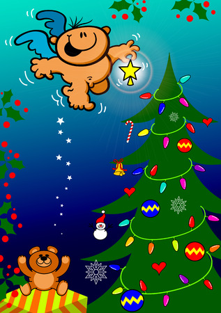 Cute Christmas scene with a gift, baubles, a teddy bear and full of lights and ornaments where a nice angel s bringing a shiny star to put on top of the tree and give the final touch to the decoration Vector