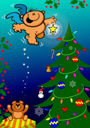 Escena linda de la Navidad con un regalo, adornos, un osito de peluche y lleno de luces y adornos que un �ngel bueno s trayendo una estrella brillante para poner en la parte superior del �rbol y darle el toque final a la decoraci�n Vectores