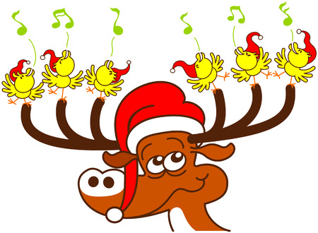 Nice deer with red Santa hat while holding with its antlers a group of six enthusiastic yellow birds which sing and celebrate Christmas in a very happy mood