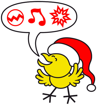 clenching: Cute yellow chicken wearing a red Santa hat, clenching its eyes and opening its wings while expressing enthusiastically what it wishes for Christmas  baubles, music and ornaments