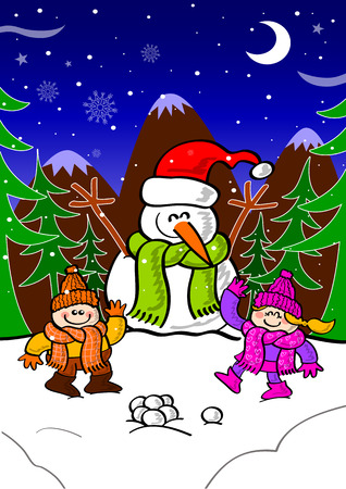 Cute Christmas scene with mountains, clouds, stars, the moon, Xmas pines, a snowman wearing a Santa hat and greeting and a couple of children playing with snow balls and greeting Vector