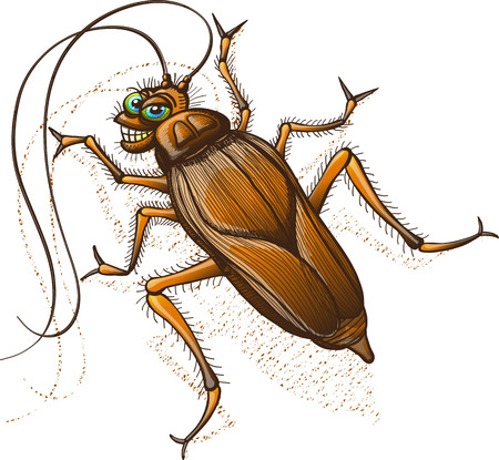 Disgusting brown cockroach with blue eyes and long antennae while stopping crawling to turn its head, stare at you and grin mischievously