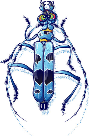 repulsive: Impressive beetle with green eyes in angry mood, viewed from top while it crawls and shows its spotted blue body, its six legs and its two long antennae