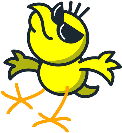 boast: Cool yellow chicken with dark sunglasses while smiling, raising its head, extending its wings and moving its legs as for dancing