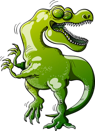 clenching: Cool green Tyrannosaurus Rex laughing, clenching its eyes and having a lot of fun while moving its body rhythmically for dancing animatedly