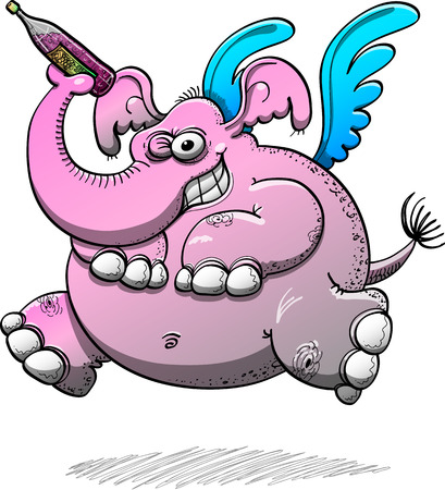 Big pink elephant with blue wings jumping, winking, grinning mischievously and holding a bottle of wine with its trunk while staring at you in a disturbing way
