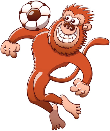Brown monkey jumping high to trap the soccer ball with its chest with great style and agility while staring at the ball and grinning mischievously Illustration