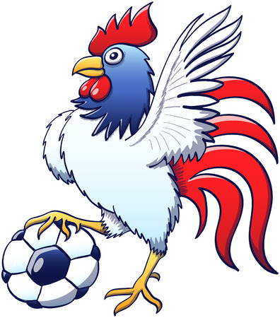 Impressive side view of a brave rooster wearing blue, red and white colors while stepping on a soccer ball, raising its left wing as for greeting, staring at you and posing proudly
