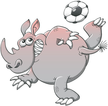 executing: Brave corpulent rhino executing a stunt with a soccer ball consisting on making it pass above his head by rising high his leg and kicking the ball with the sole of his foot