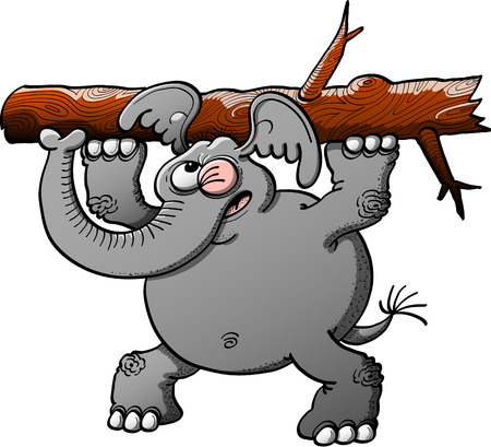 uneasy: Strong gray elephant making a big effort to lift a tree trunk with its forelegs while winking, keeping balance with its hind legs and showing worried