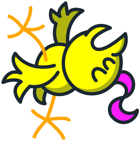 perturbing: Cool yellow chick with a fuchsia streak while falling backwards, opening its mouth, raising a leg, stretching its wings, closing its eyes and fainting slowly