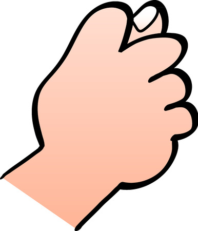 obscene gesture: Close up of a male hand making a fig sign gesture with the hand where fingers are curled forming the fist and the thumb goes between the middle and index fingers partly poking out