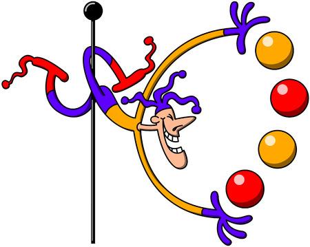 놀라운: 자신의 다리 기둥을 움켜 잡고 열정적으로 웃으면 어려운 위치에서 다채로운 공을 저글링 쿨 할리퀸 같은 서커스 남자